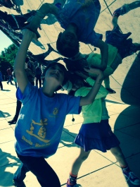 At the bean after the race - my strong kiddos!